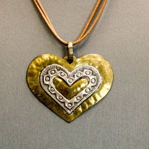 Jeep Collins Sterling Hammered Brass Heart Necklac